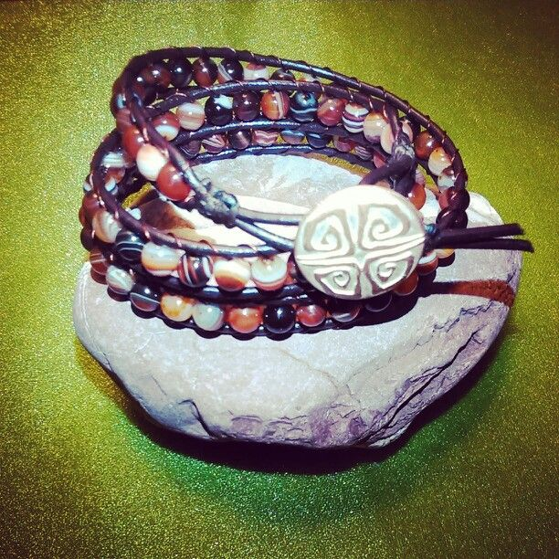 SemiPrecious Bracelet - STRIATED AGATE/Triple