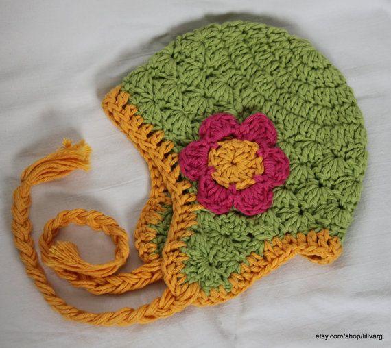 Virkad bomullsmössa med öronlappar storlek 9-12 månader / crochet earflap cotton hat size 9-12 months by lillvarg, kr175.00