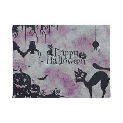#Happy Halloween Black Cat Purple  Door Mat - #Halloween #happyhalloween #festival #party #holiday