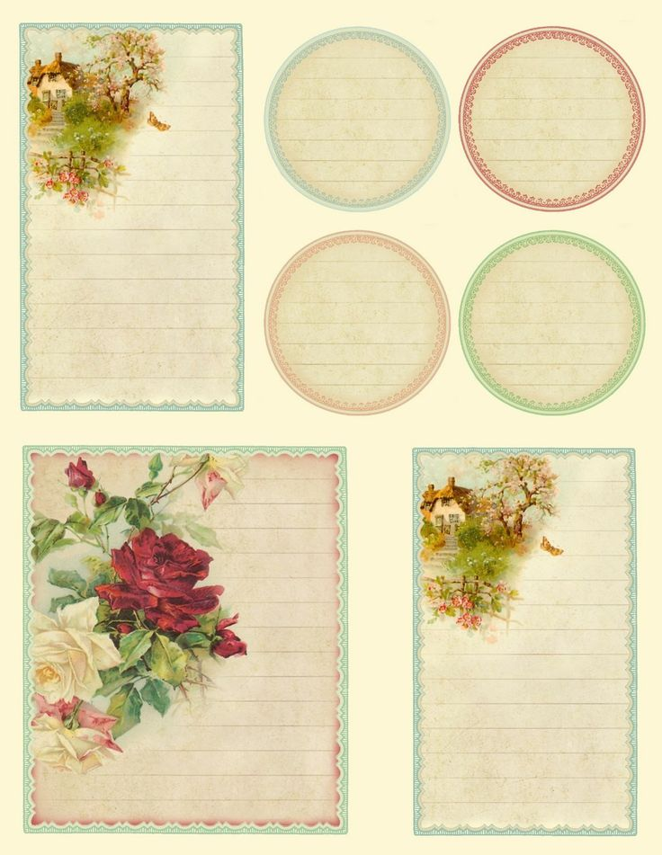 """Rewards of the simple life...  Printable ~ journal cards (English cottage scene & C. Klein roses) and 2.5"""" round graphics"""