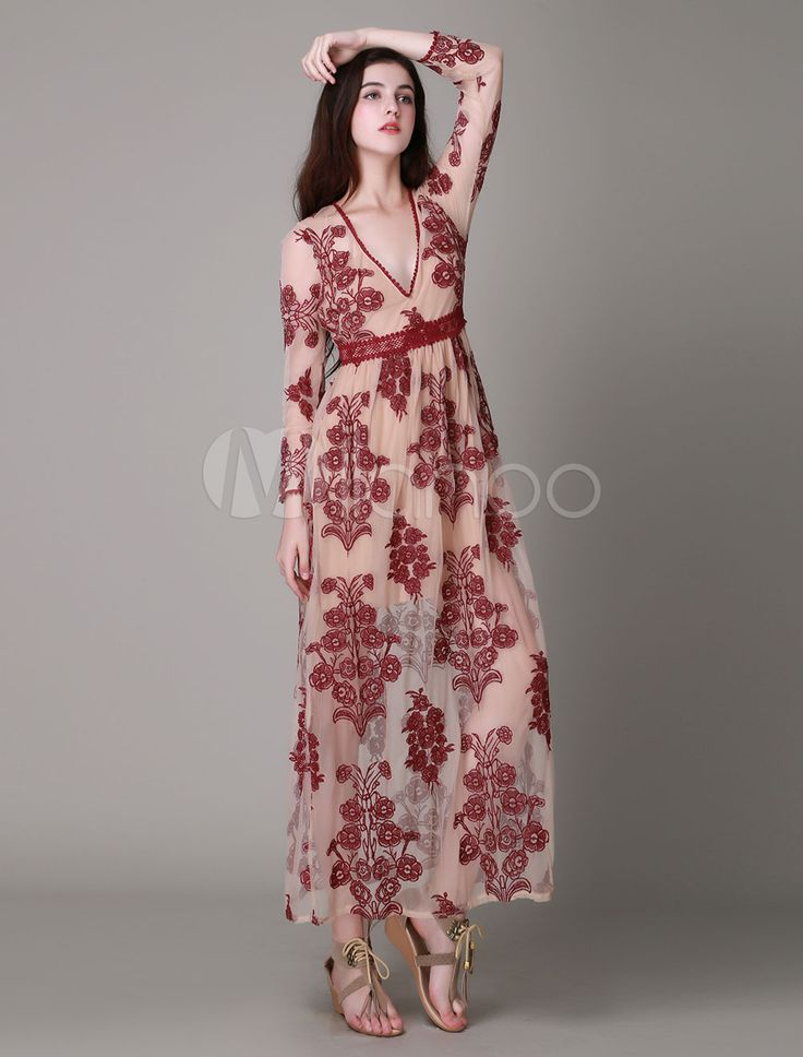 Purple Floral Print Low-Cut Embroidered Maxi Dress