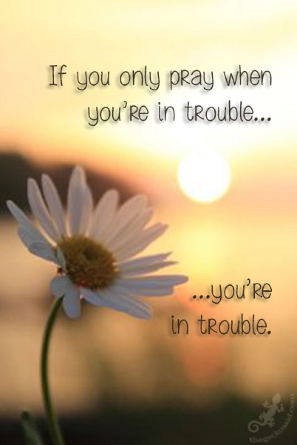 If you only pray when you're in trouble......you're in trouble.  #pray #trouble #only #quotes  ©The Gecko Said - Beautiful Quotes - Thegeckosaid.com™