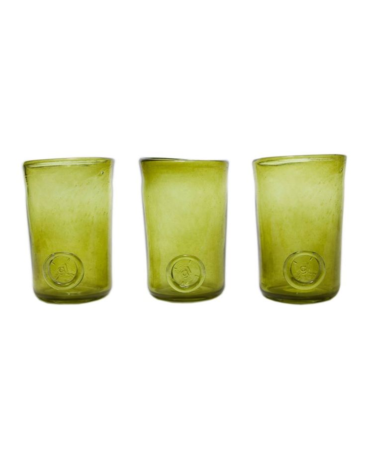 Three glasses set-olive green Crafted by hand, this stunning glasses set feature a classic design and colored finish that may vary slightly between products. Perfect for serving individual desserts at dinner parties or drinks in the garden.