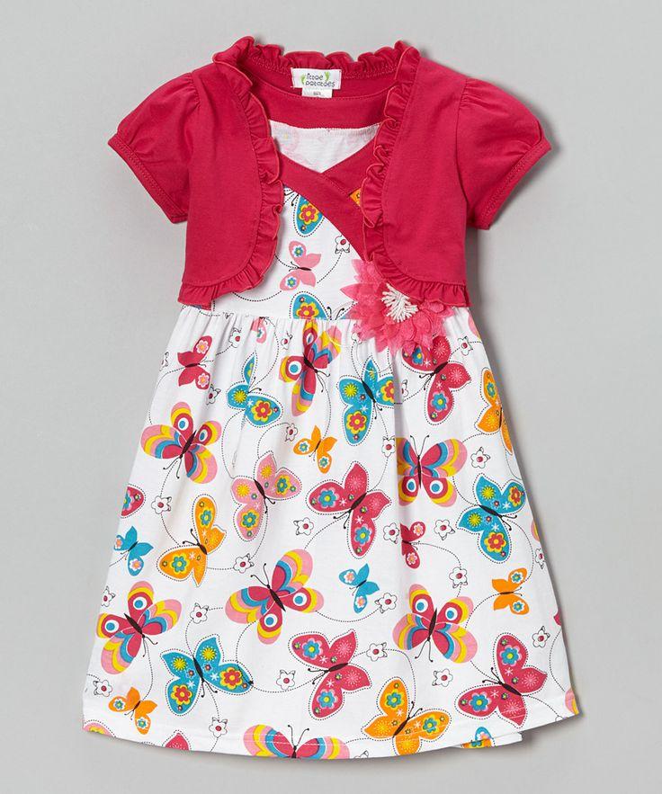 Fuchsia Butterfly Dress & Shrug - Infant, Toddler & Girls