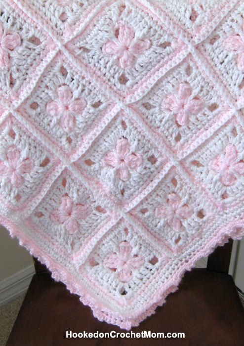 Baby Girl Afghan Granny Square Blanket White and Pastel Pink Handmade Crochet Shower Gift Home Decor Baby Nursery, $49.95