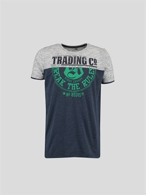 Navy Printed Regular Crew Neck T-Shirt, Urun kodu: 6YC045Z6-839,Product Type:T-shirts,Design:Printed,Fit:Regular,Neck Type:Crew Neck,Lower Part:%73 Cotton %27 Polyester,Top Part:%19 Cotton %81 Polyester,