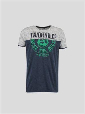 Navy Printed Regular Crew Neck T-Shirt, Urun kodu: 6YC045Z6-839,Product Type:T-shirts,Design:Printed,Fit:Regular,Neck Type:Crew Neck,Lower Part:%73 Cotton %27 Polyester,Top Part:%19 Cotton %81 Polyester,