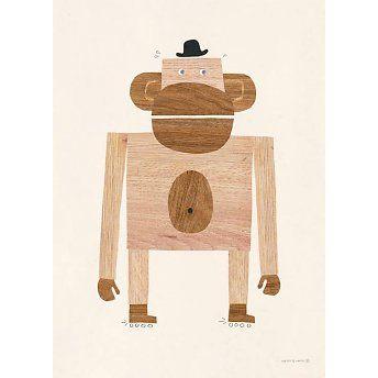 walnut & walrus wood monkey poster