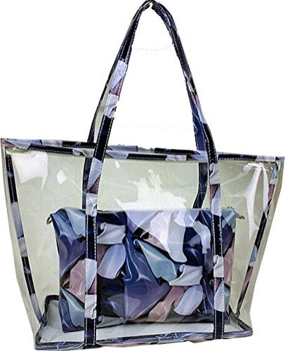 Buenocn Clear Transparent Tote Shoulder Bag Satchel Beach Handbag for Women Shy693 (blue)