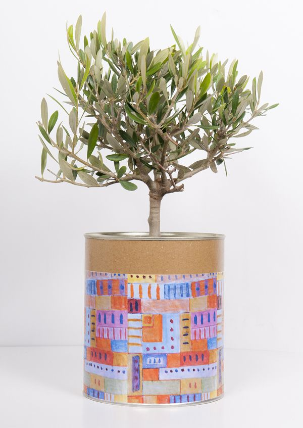 www.fleria.gr Handmade collage Nina's paintings can with olive tree