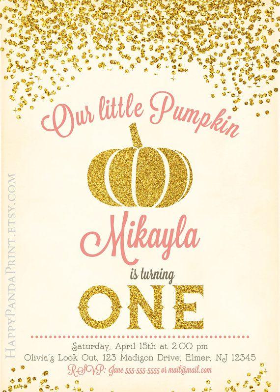 Pumpkin Birthday Invitation, Our Little Pumpkin Invitation, Gold Glitter Pumpkin Invite, First Birthday Pumpkin Invitation, Girl Pumpkin Party Printables by Happy Panda Print #pumpkin #birthday #invitations #glitter #happypandaprint