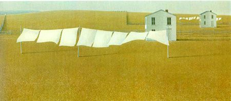 Clothesline  1965 Christopher Pratt was born in St. John's, Newfoundland on December 9, 1935. He studied visual arts at Mount Allison University, New Brunswick and the Glasgow School of Art in Glasgow, Scotland. In 1960 he returned to Newfoundland, establishing permanent residence in Salmonier, St. Mary's Bay. Pratt has exhibited work in many solo and group exhibitions and has achieved national and international recognition. His greatest love is printmaking, especially serigraphy,