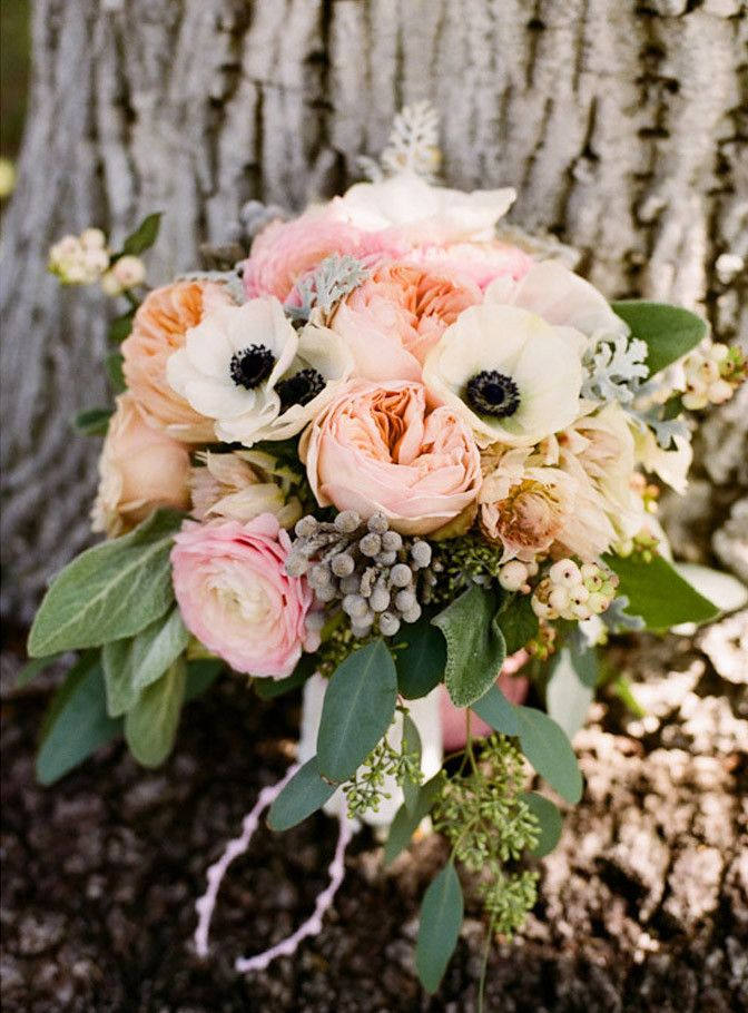 ImageIdeas, Garden Roses, Wedding Bouquets, Gardens Rose, Layered Cake, Dusty Miller, Pink Peonies, Flower, Anemones