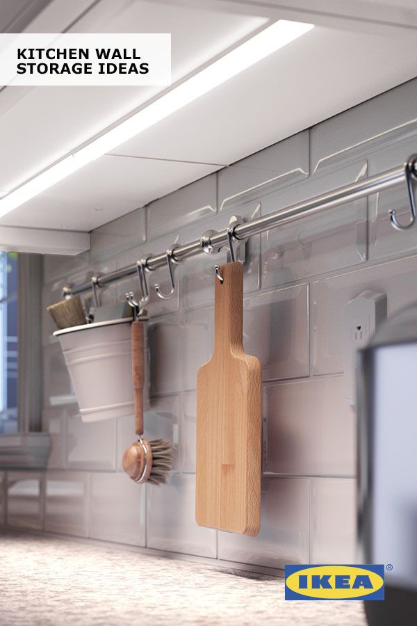 Keep everything you need within reach with IKEA kitchen wall storage! When cabinet and drawer space is in short supply, create your own wall storage solution with rails, hooks, containers and shelves that keeps kitchenware close at hand.