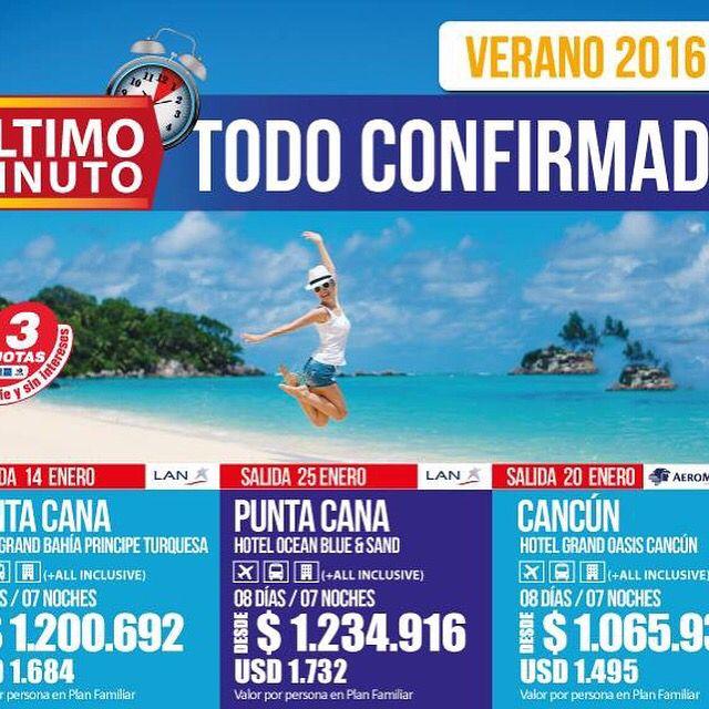 Todavía no has planificado tus vacaciones 2016 !!!! Nos quedan cupos confirmados a diferentes destinos. Solo envía un mail a lfigueroa@intertour.cl con tus requerimientos.