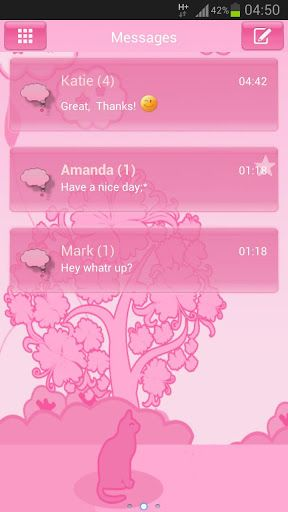 GO SMS Pro Theme pink cat works only with GO SMS Pro application, if you don't have it, download for free from Google Play.<p>If You love hello kitty, or You have a little cat , You'll love this cats theme with  cute pink cats, tree and white cloud/clouds and kitties, kittens, kitty.<br>Feel like you are now near great pink planet, cute animal and amazing trees with flowers and beautifull pink sky with white and grey epic cloud, be happy every time when you post a sms message!<br>This a new…