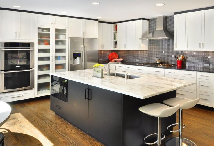 Furniture, Stunning Black Kitchen Island With White Marble Countertop And Breakfast Bar Modern White Swivel Bar Stools L Shaped White Laminate Kitchen Cabinet With Built In Double Over And Counter Depth Fridge Modern Backsplash: Awesome New Kitchen Island Ideas