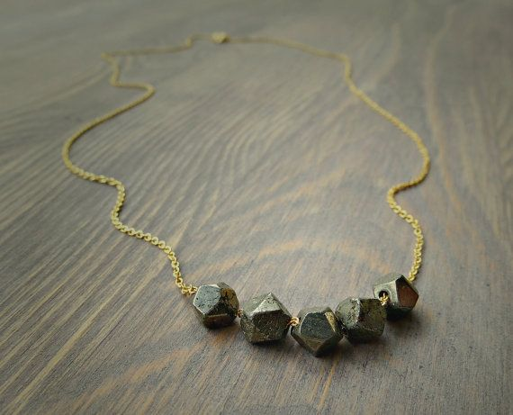 Pyrite nugget gold necklace dainty necklace by SoCoolCharms, €23.79