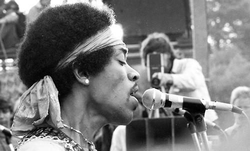 Jimi Hendrix performs at Woodstock, August, 1969