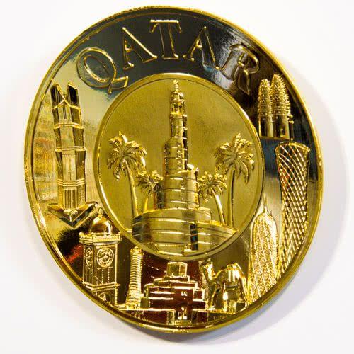 Souvenir Plate: Qatar. Collage (Golden Color). Diameter 11 cm