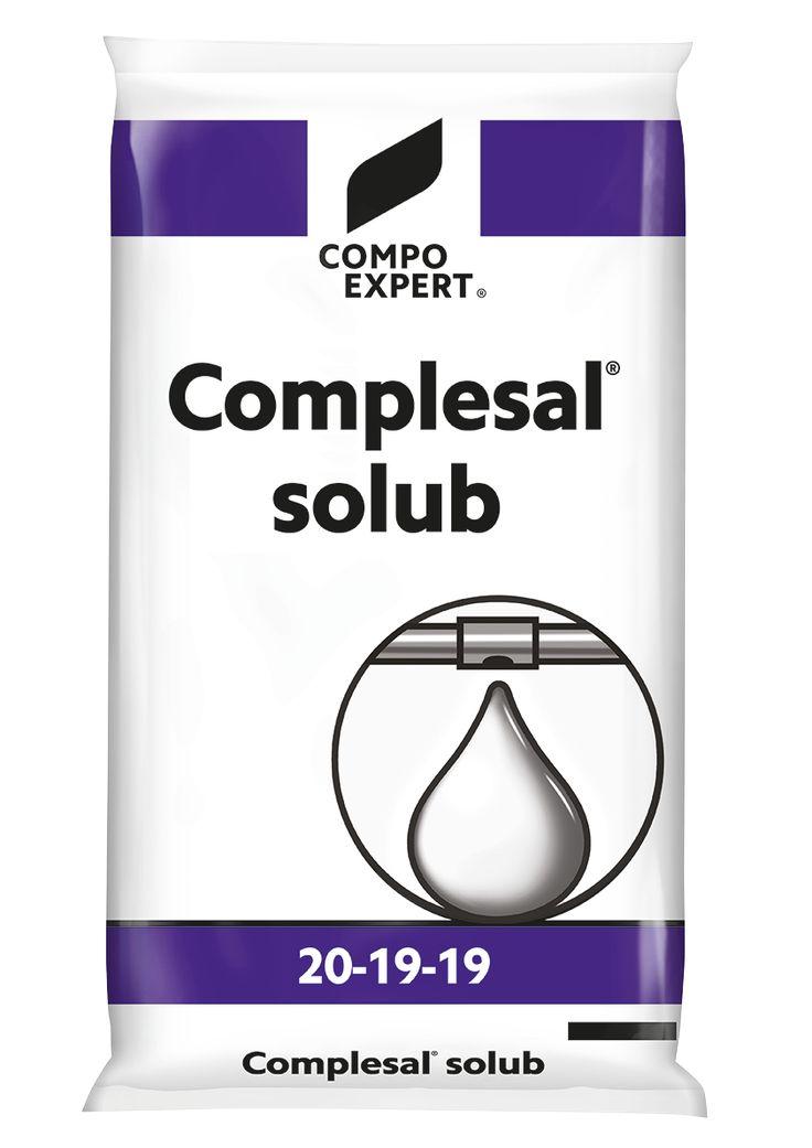 Complesal Solub 20-19-19 Σύνθεση: 20-19-19 +IXN  Σύνθετο πλήρες λίπασμα με ισόρροπη αναλογία θρεπτικών συστατικών και παρουσία μαγνησίου και ιχνοστοιχείων. Κατάλληλο για ενίσχυση των καλλιεργειών στις φάσεις υψηλής δραστηριότητας και για όλα τα στάδια ανάπτυξης.  Συσκευασίες: σάκοι των 25 κιλών, χαρτοκιβώτιο 12 Χ 2 κιλά.