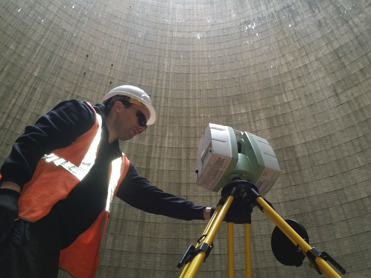 Surveyor Andrew McKeown laser scanning the inside of an American cooling tower