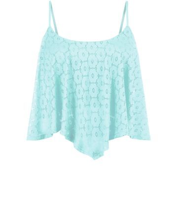 Mint Green Daisy Lace Hanky Hem Crop Top (new look)