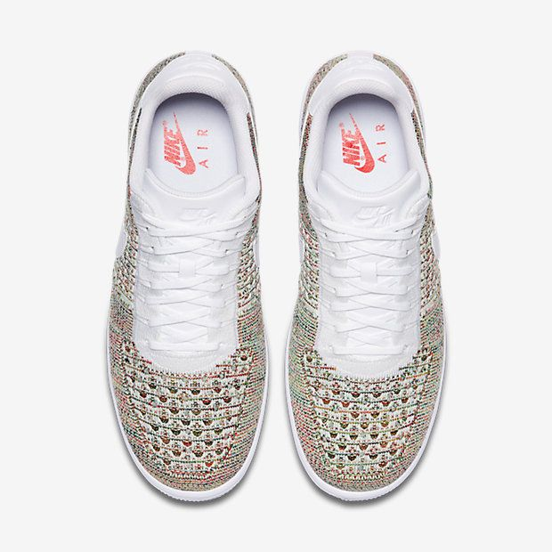 cheap for discount cd2f1 d8384 Chaussure Nike Air Force 1 Pas Cher Homme Flyknit Low Jaune Strike Cramoisi  Brillant Blanc