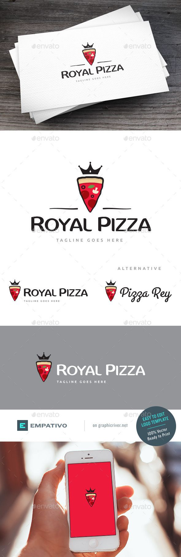Royal Pizza Logo Template — Vector EPS #gourmet #restaurant menu • Available here → https://graphicriver.net/item/royal-pizza-logo-template/12690399?ref=pxcr