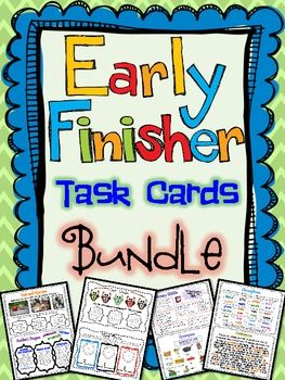 Early Finisher Task Card Bundle ( Language Arts , Math , and Critical  Creative Thinking) A bundle of 3 of my very popular Early Finisher Task Cards! *94 Task Cards TOTAL!* $