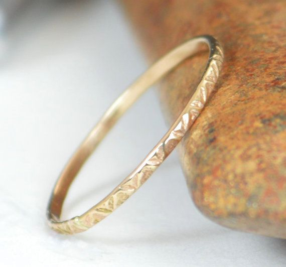 14k Gold Bohemian Ring Rustic Wedding Ring Thin by Alaridesign