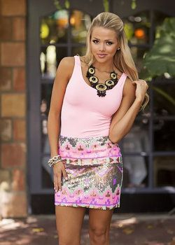 We're Impressed Sequins Mini Skirt - Modern Vintage Boutique