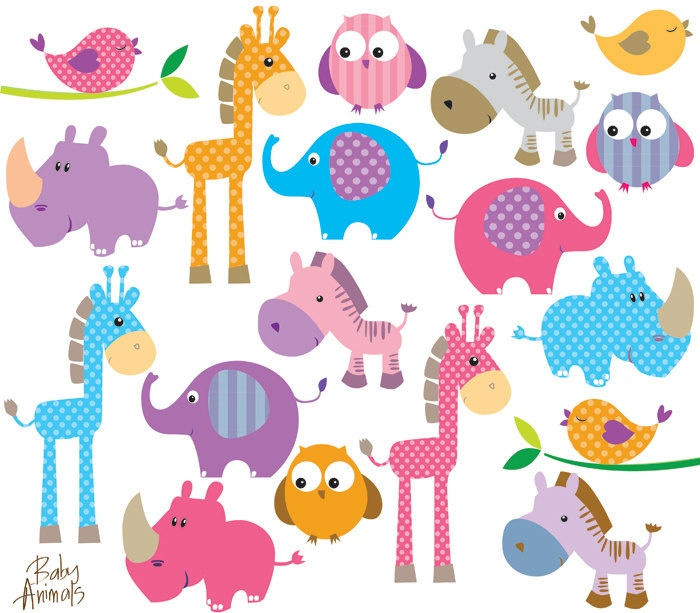 Animals Clip Art Cute Little Baby Animals Clipart Birthday Party Giraffe Elephant Owl Zebra Rhino Bird Scrapbook Teacher Supply 10422. $9.90, via Etsy.