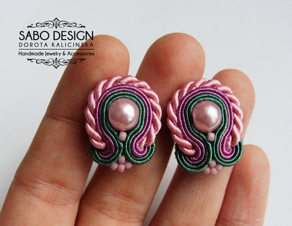 Soutache stud earrings handmade post earrings by SaboDesign.