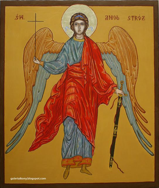 Angel Guardian Icon - egg tempera on board.