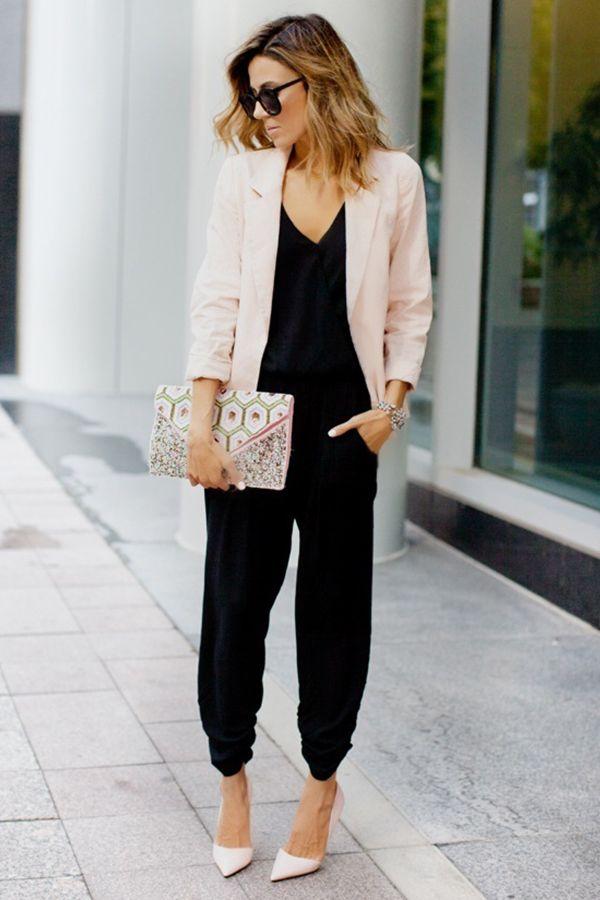 Power Dressing | What to Wear | Fashion Blogger | Christine Andrew | Black Jumpsuit | Pastel pink Blazer | Smart Casual | Workwear Fashion | Women | Visit Travelshopa