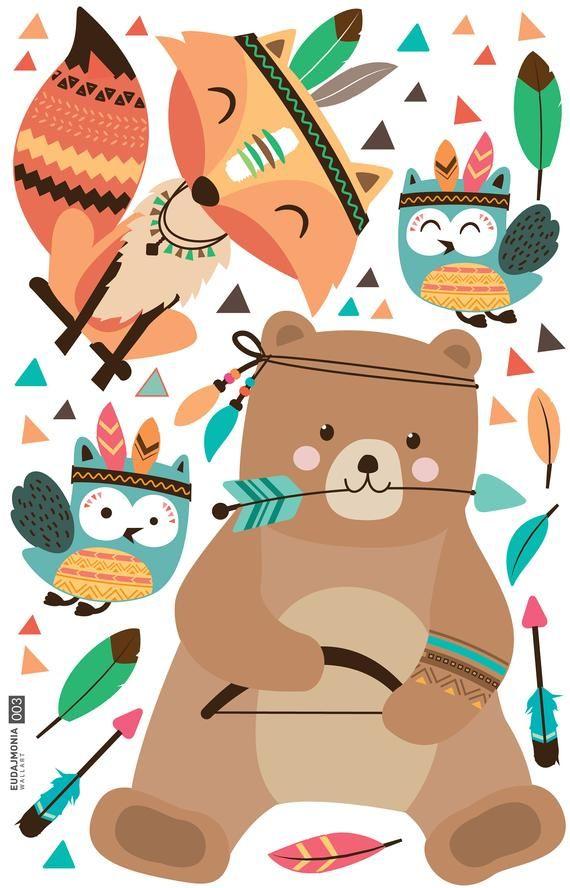 Wandtattoo Kinderzimmer Junge Indianer Waldtiere Aquarell Geschenk Geburtstag
