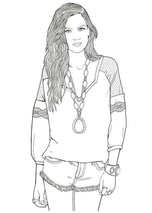 Free Fashion Model Coloring Pages