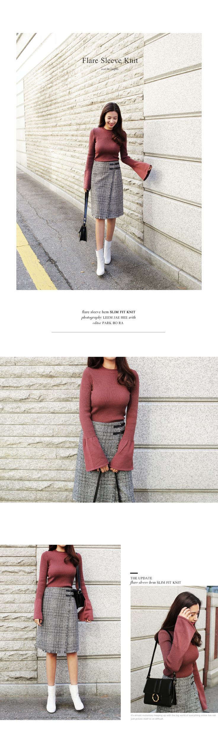 サイドベルトグレンチェックラップミディスカート・全3色