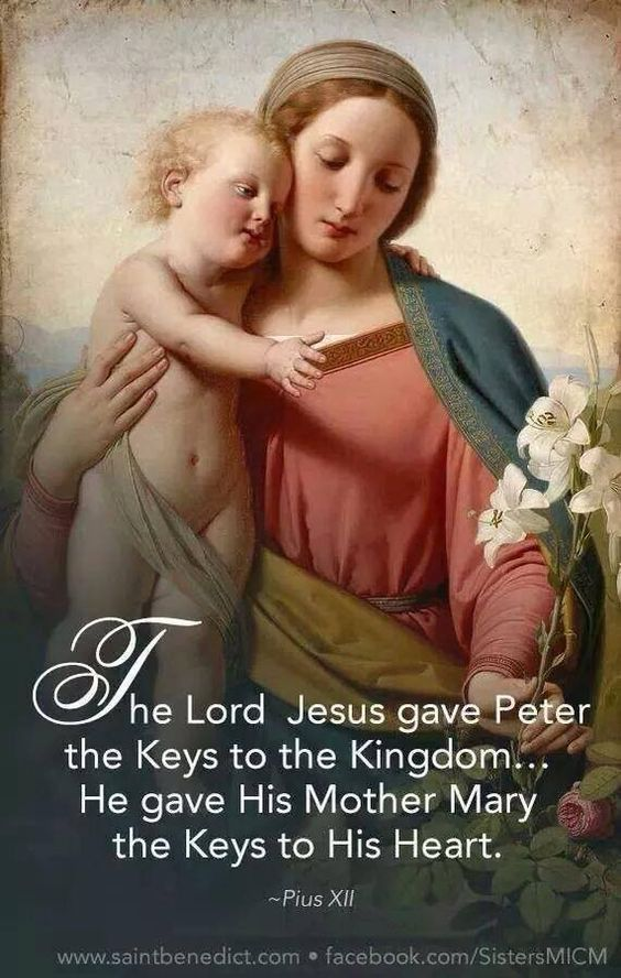 "Quote of the Day – July 16 #pinterest ""The Lord Jesus gave Peter the keys to the Kingdom….. He gave His Mother Mary the keys to His heart."" ~~~~~ Pope Pius XII ~~~~~"