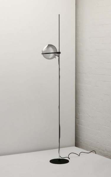 Gino Sarfatti; #1080 Glass, Chromed Metal, Painted Metal and Coated Iron Floor Lamp for Arteluce, 1960s.
