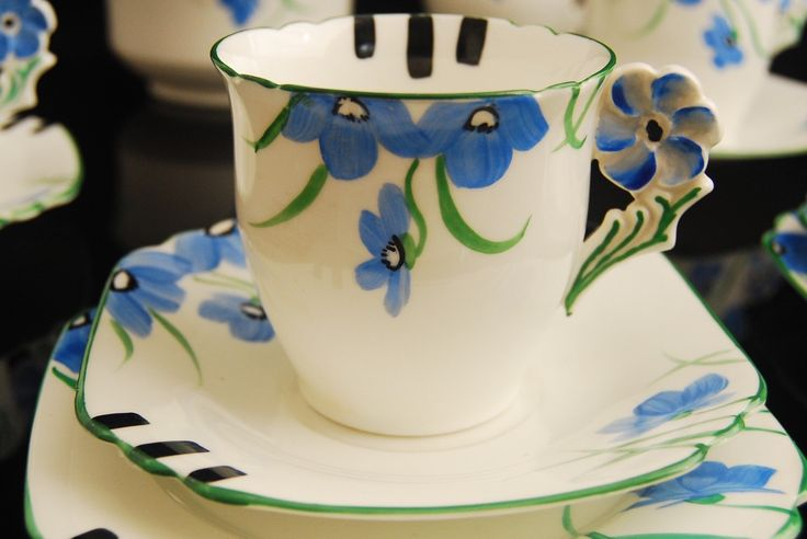 A personal favourite from my Etsy shop https://www.etsy.com/uk/listing/268559087/flower-handle-art-deco-tea-cup-trio