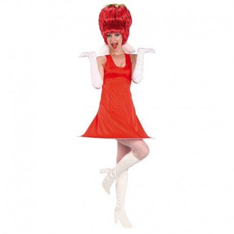 Disfraces hawaianos mujer   Disfraz de fresita con peluca. Elegante modelo de fresita vintage. Ideal para tus fiestas tematicas de frutas o hawaianas. ¡Super chulo!Contiene cubre botas, vestido con ara inferior para darle vuelo y peluca.Talla M. 16,95€ #disfraces #hawaianos #disfraz #hawai #fresa # fresita #hawaiana #peluca