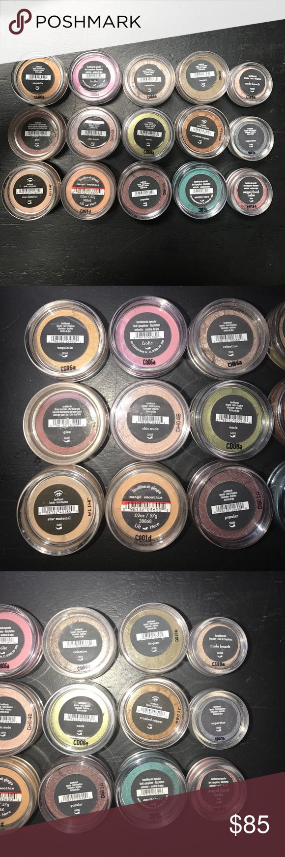 Bare Minerals Loose Eyeshadow Bare Minerals Loose Eyeshadow, all brand new never been opened! You get all 15 eye shadows! Top Row going horizontally: Exquisite, Frolic, Celestine, Inspire, Nude Beach. Second Row: Glee, Chic Nude, Oasis, Crushed Copper, Superstar. Third Row: Star Material, Mango Smoothie, Popular, Exotic Tara, Angel Food Cake. bareMinerals Makeup Eyeshadow