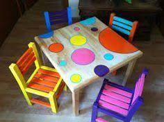 Resultado de imagen para sillas pintadas de colores niños