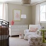 Finnian's Moon Interiors - nurseries - tan, walls, white, drapes, coral pink, Greek key, trim, antique, trim, pink, gray, crib bedding, jute, rug, pink, gray, pouf, white, glider, coral pink, carthage, lantern, glossy, green, lacquer, green, spindle, table,