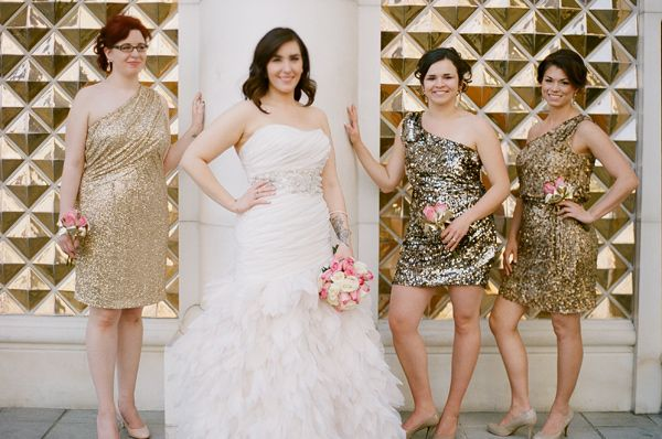Love the sequined bridesmaid dresses!