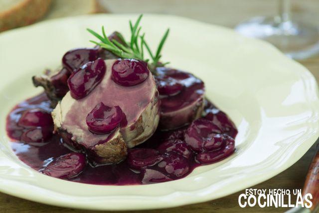 Receta de solomillo de cerdo con salsa de cerezas y vino tinto