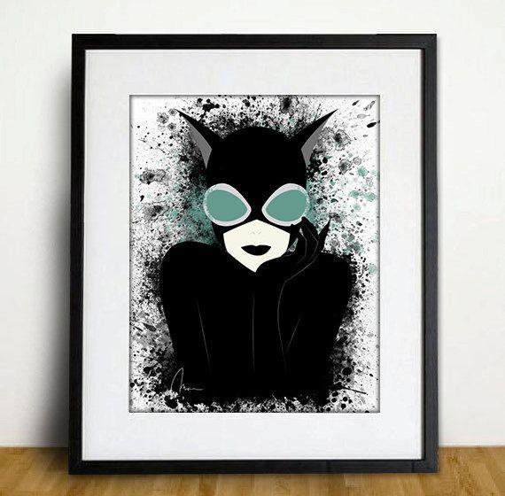 Original Catwoman Art Print - Home Decor, Splatter Art Print