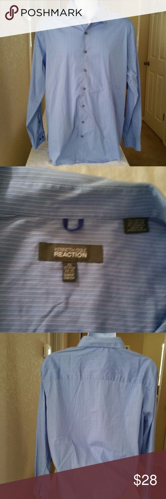"""Kenneth Cole Reaction men's slim fit Shirt For your consideration:   Kenneth Cole Reaction men's slim fit Stretch  blue and white stripe Button Down Dress Shirt.  Size: XL, 17- 171/2 34-35  Material: 71% cotton, 25% Nylon, 4% Spandex.  Measurements approximately:  Sleeve 24.5""""  Underarm to Underarm: 25""""  Front length from shoulder to hem: 30"""" Kenneth Cole Reaction Shirts Dress Shirts"""